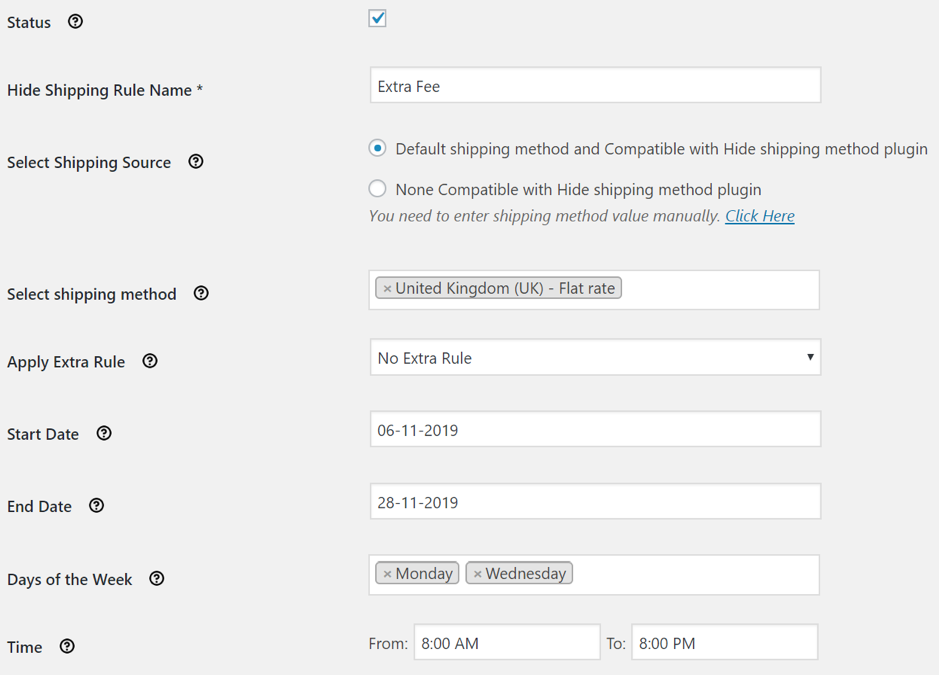 Hide shipping  for WooCommerce
