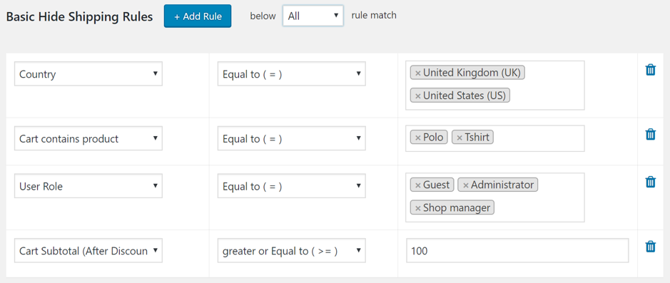Hiding a Few Shipping Methods as per basic rules