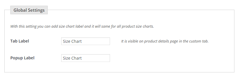 Figure 3: Setting labels for different positions of the Size Chart