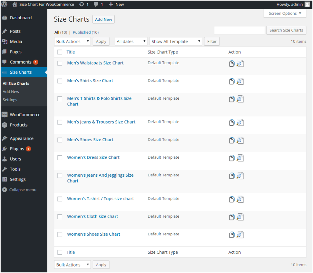 Figure 3: Multiple Size Charts created using the Product Size Charts Plugin for WooCommerce