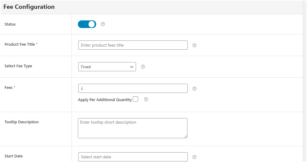 Figure 2 - Fee Configuration form for quantity-based rules creation