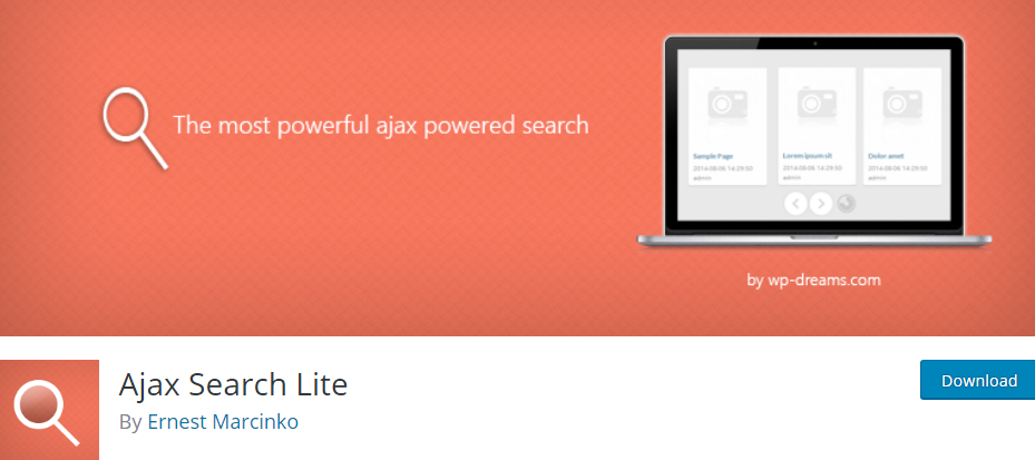 Plugin 4 - Ajax Search Lite - 5 Awesome WordPress Search Plugins